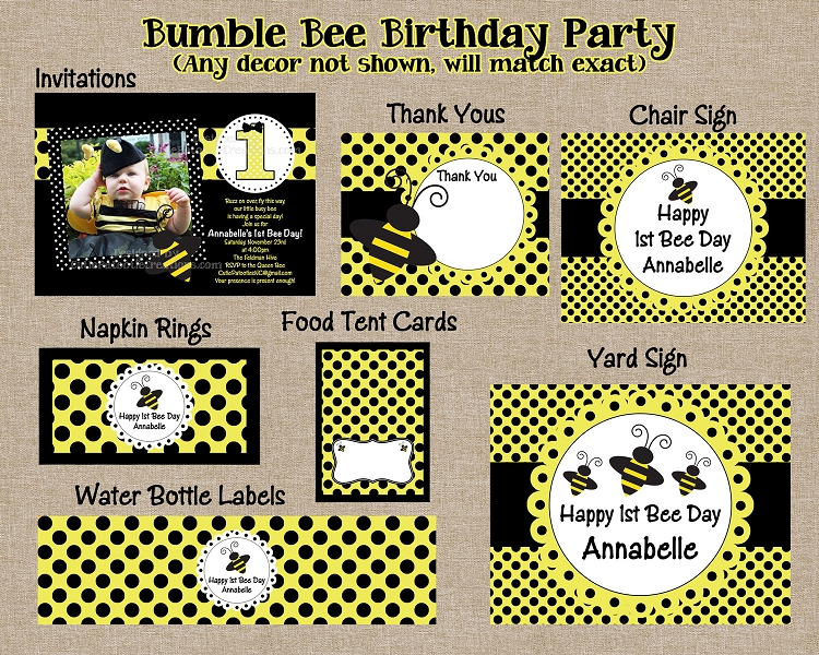 Bumble Bee Party Invitations With Photo