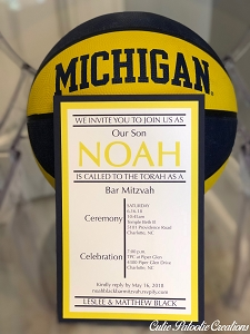Michigan Themed Basketball Bar Mitzvah Invitations | Custom Team Colors Available