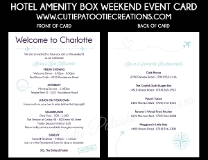 Travel Theme Weekend Event Card and Itinerary for Hotel Bags for Mitzvahs and Weddings