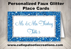 Royal Blue and Silver FAUX Glitter Place Cards for Mitzvahs and Weddings | Custom Colors Available