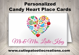 Personalized Candy Heart Place Cards by Cutie Patootie Creations