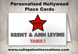 Personalized Hollywood Star Place Cards for Mitzvahs, Sweet 16 and Weddings | Cutie Patootie Creations