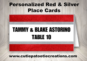 Personalized Red and Silver Place Cards - Custom Colors Available