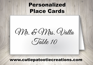 Personalized Place Cards for Mitzvahs, Weddings and Sweet 16 - Choose your Font and Colors