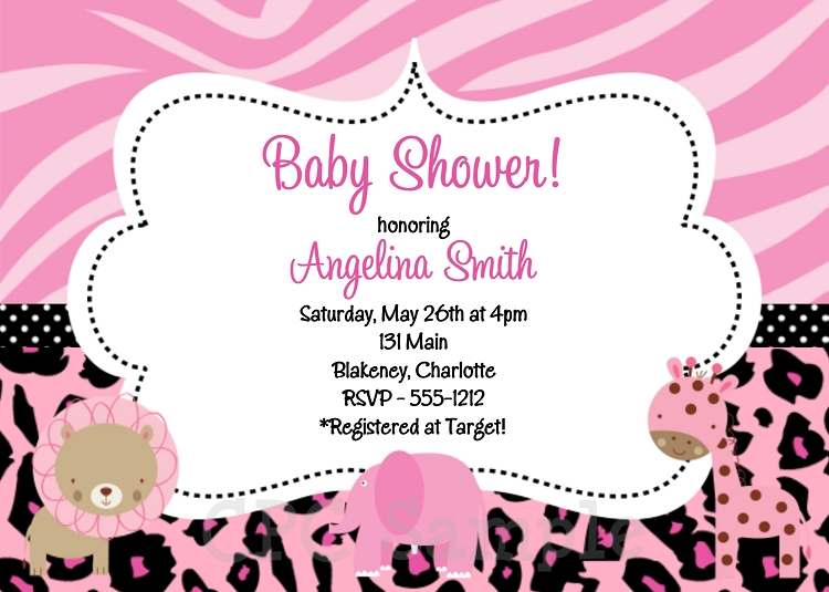 pink safari birthday invitations