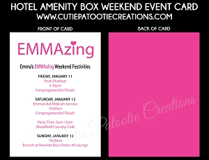 Custom Weekend Itinerary for Hotel Bags for Mitzvahs and Weddings