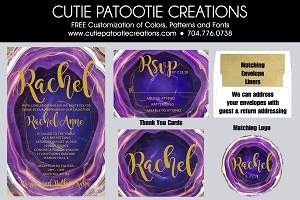 Purple and Gold Agate Bat Mitzvah Invitations | Cutie Patootie Creations