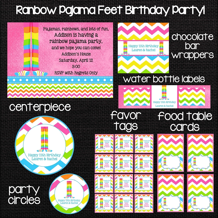 Rainbow Chevron Pajama Feet Birthday Invitations