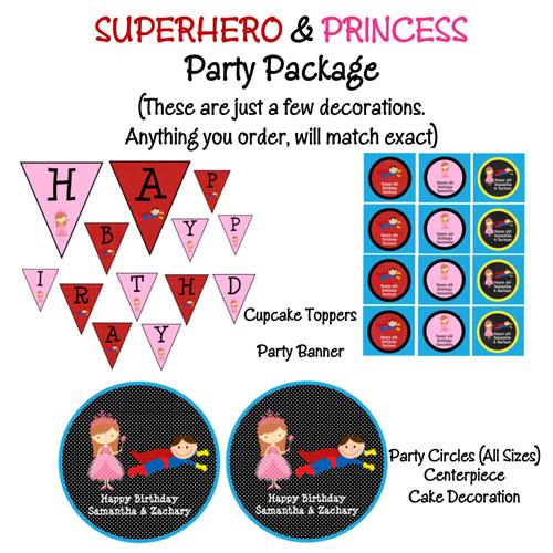 Princess And Superhero Birthday Party Invitations Printable Or Printed