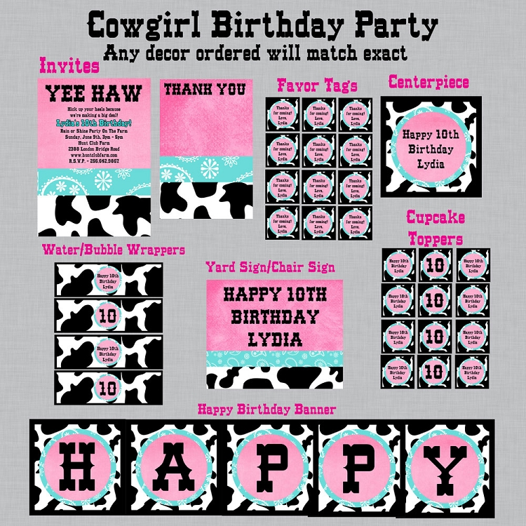 Tiffany Blue And Pink Cowgirl Invitations