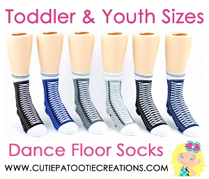 Dance Floor Party Socks -  Blue & Grey Sneaker Style Mitzvah Socks for TODDLER AND YOUTH