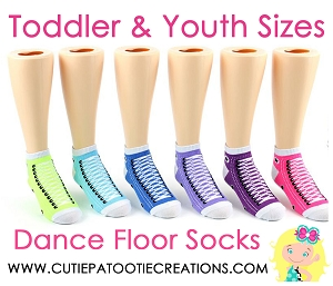 Dance Floor Party Socks -  Rainbow Colors Sneaker Style Mitzvah Socks for TODDLER and YOUTH