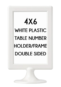 4x6 White Table Number Stands for Mitzvahs, Weddings and Sweet 16