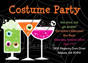Halloween Cocktail Party Invitations - Printable or Printed