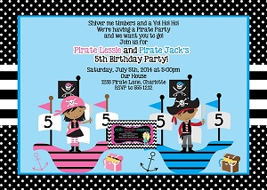 African American Boy Girl Pirate Birthday Invitation - Printable or Printed