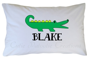 Personalized Preppy Green Alligator Pillow Case for Kids, Adults and Toddler