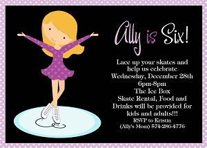 Girl Ice Skating Invitations - Printable or Printed