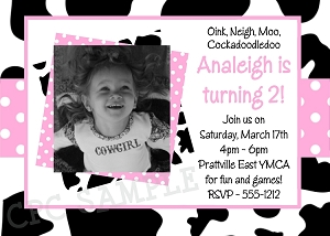 Cow Print Birthday Party Invitations | Western Birthday Party Invitation - Printable or Printed
