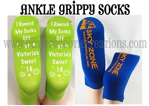 Personalized ANKLE Grippy Grip Socks Bar and Bat Mitzvahs, Weddings and Sweet 16
