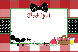 Ants on a Picnic Thank You Card for Girls