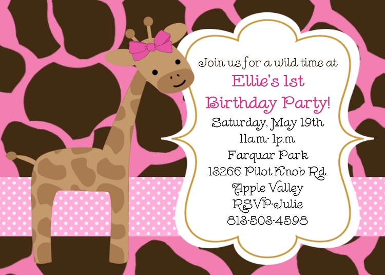 pink giraffe birthday invitations