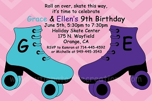 Aqua and Purple Roller Skating Birthday Invitation