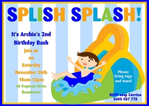 Water Slide Pool Party Invitation with Blue Stripes