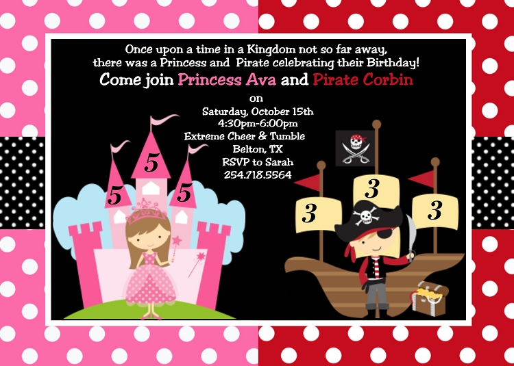 Princess Pirate Birthday Party Invitations