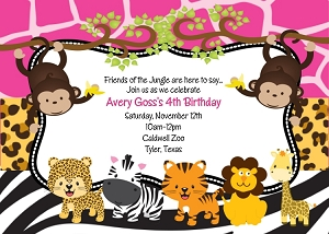 Pink Jungle Safari Invitations for Birthday or Baby Shower - Printable or Printed