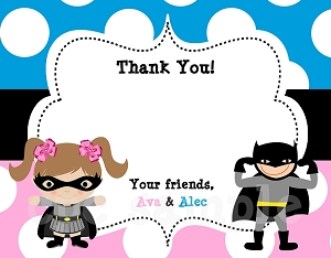 Batman Batgirl Thank You Cards - Printable or Printed