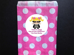 Pink Batgirl Party Favor Bags and Personalized Stickers