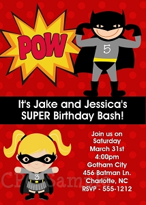 Twins or Siblings Batman and Batgirl Superhero Birthday Invitations - Printable or Printed