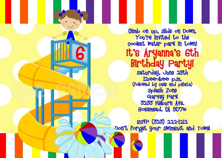 Rainbow Pool Party Invitations