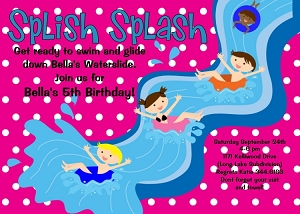 Water Park Pool Party Birthday Invitations for Kids