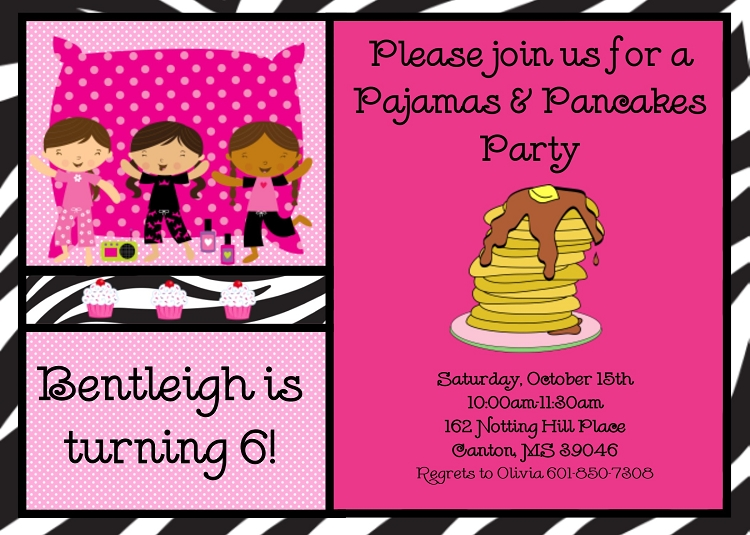image regarding Printable Sleepover Invitations identified as Pajama and Pancakes Birthday Celebration Invites Sleepover