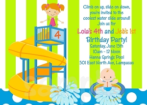 Pool Party Invitations for Twins or Siblings.