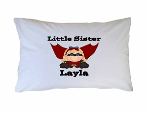Personalized Superhero Little, Big, Middle Sister Pillow Case for Kids, Adults and Toddler