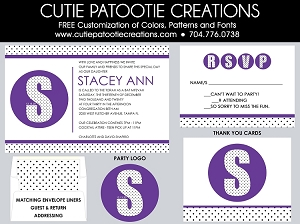 Modern Bat Mitzvah Invitations - Purple, Black and White Dots - Custom Colors Available
