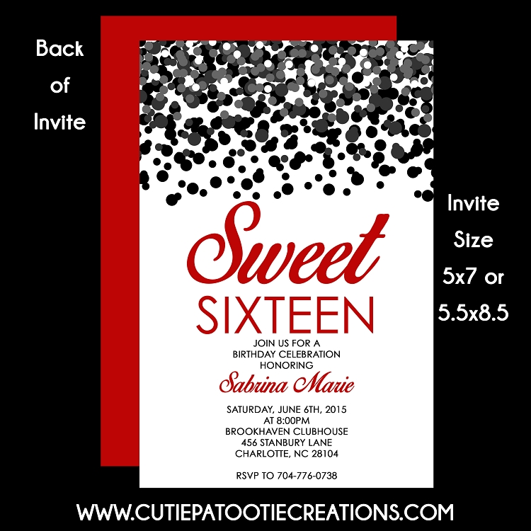 Black Red Confetti Sweet 16 Sixteen Birthday Invitation