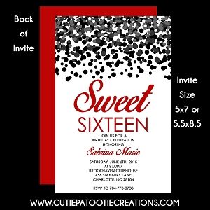 Black & Red Confetti Sweet 16 Sixteen Birthday Invitation - Quinceanera Invitations