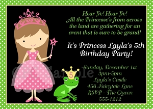 Princess and the Frog Birthday Party Invitations - Printable or Printed