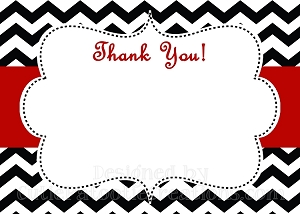 Black White Red Chevron Print Thank You Card - Printable or Printed