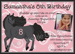 Black Stallion Birthday Party Invitations, Printable or Printed