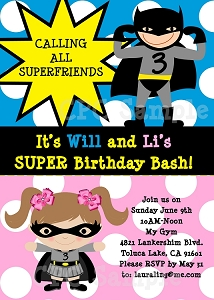 Batman Batgirl Superhero Birthday Invitations - Printable or Printed
