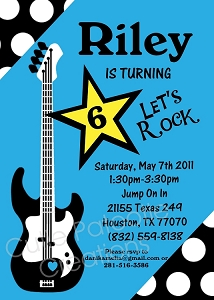 Girls Rockstar Birthday Party Invitations - Printable or Printed