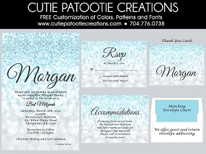 Sky Blue Ombre Faux Glitter Pattern Bat Mitzvah Invitations - Custom Colors Available