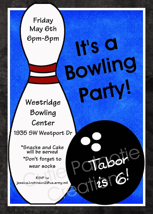 Boy Bowling Birthday Invitations