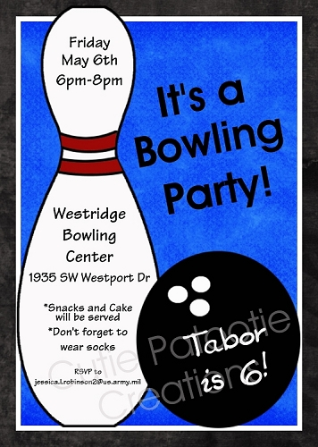 Bowling Birthday Party Invitations for Boys