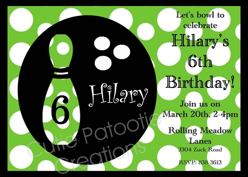 Green Polka Dot Bowling Invitations