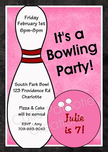 Bowling Party Invitations for Girls